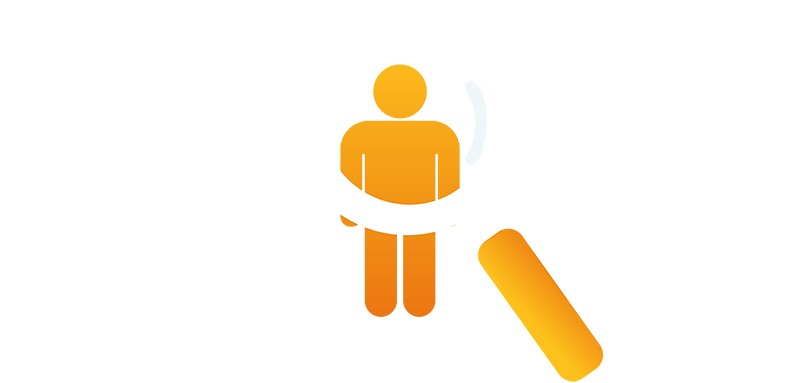Hiring symbol with people and a magnifying glass
