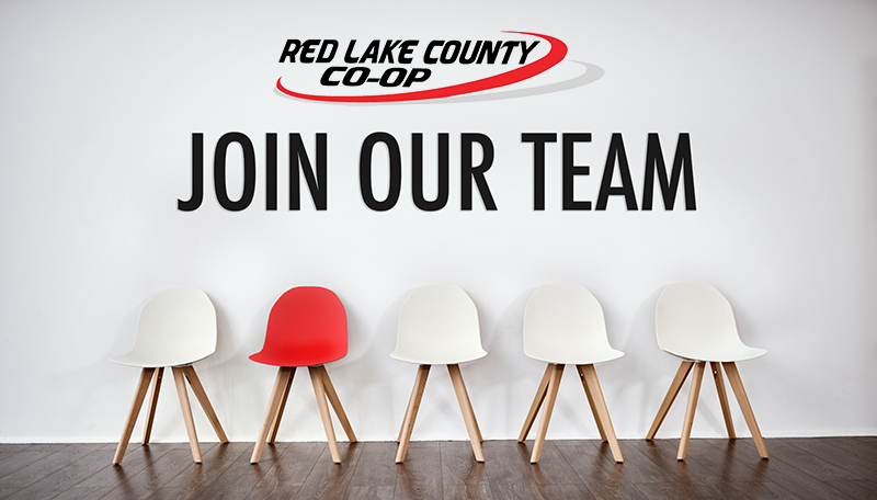 """Photo of empty chairs in a line with """"Red Lake County Co-Op Join Our Team"""""""