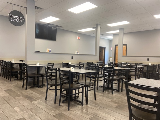 Interior of Memories Cafe with chairs and tables