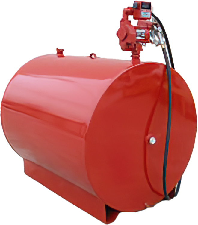 Red Fuel Storage Tank